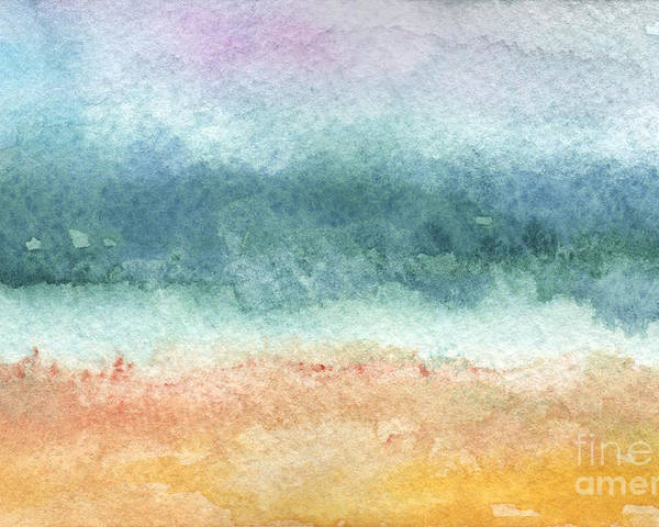 Abstract Poster featuring the painting Sand And Sea by Linda Woods