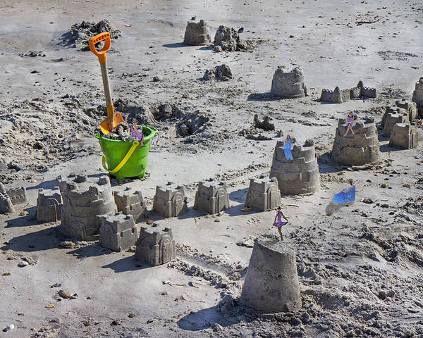 Sandcastle Poster featuring the digital art Sandcastle Squatters by Betsy Knapp