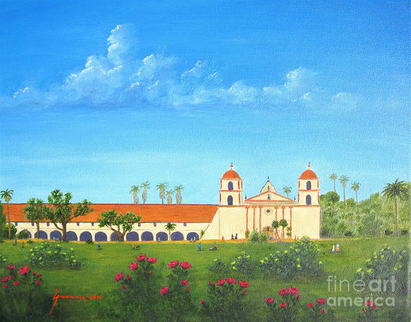 Santa Barbara Poster featuring the painting Santa Barbara Mission by Jerome Stumphauzer
