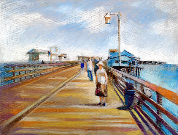 American Landscapes Poster featuring the drawing Santa Barbara Pier by Filip Mihail