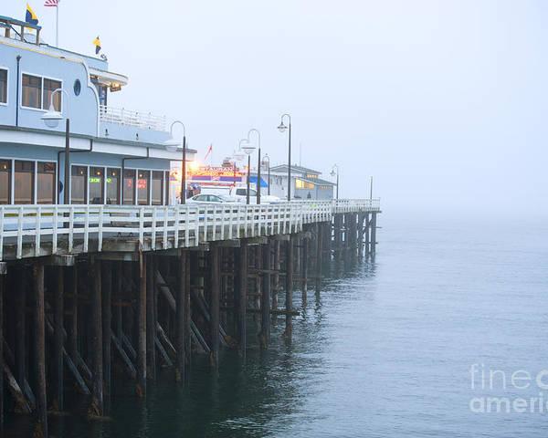 Santa Cruz Pier Poster featuring the photograph Santa Cruz Pier In The Fog by Artist and Photographer Laura Wrede