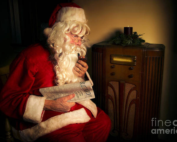 Santa Claus Poster featuring the photograph Santa Listening To The Weather Report by Diane Diederich