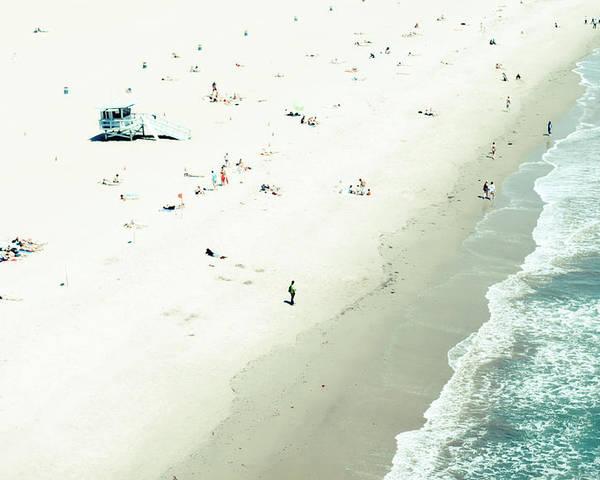 Water's Edge Poster featuring the photograph Santa Monica Beach by Angela Auclair