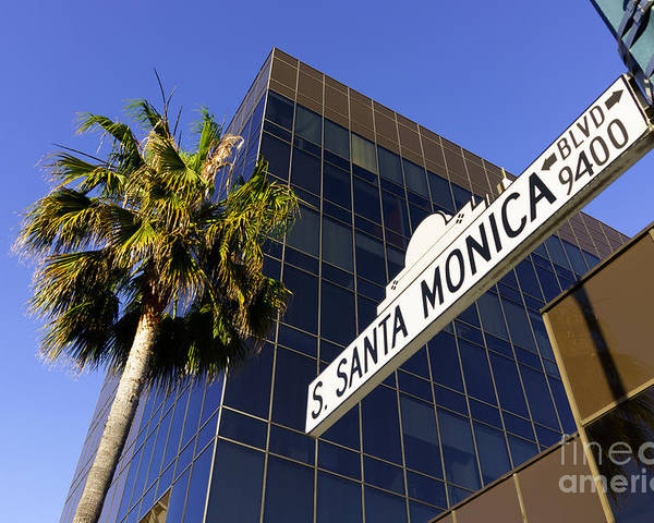 America Poster featuring the photograph Santa Monica Blvd Sign In Beverly Hills California by Paul Velgos