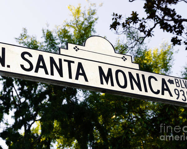 America Poster featuring the photograph Santa Monica Blvd Street Sign In Beverly Hills by Paul Velgos