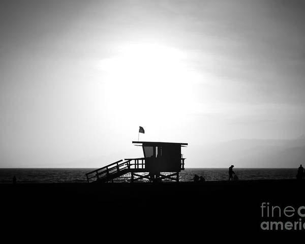 America Poster featuring the photograph Santa Monica Lifeguard Tower In Black And White by Paul Velgos