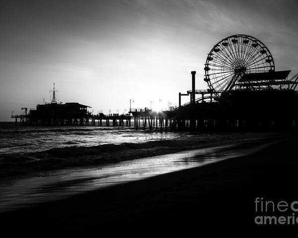 America Poster featuring the photograph Santa Monica Pier In Black And White by Paul Velgos