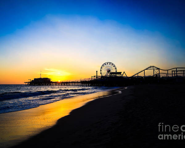 America Poster featuring the photograph Santa Monica Pier Pacific Ocean Sunset by Paul Velgos