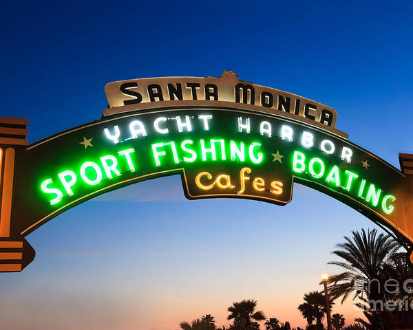 California Poster featuring the photograph Santa Monica Pier Sign by Paul Velgos