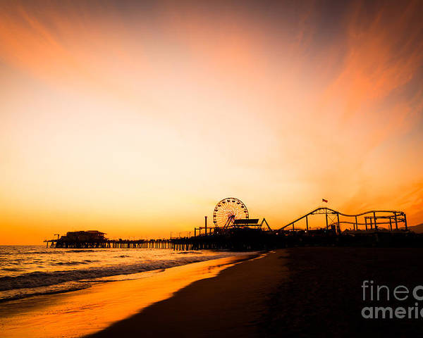 America Poster featuring the photograph Santa Monica Pier Sunset Southern California by Paul Velgos