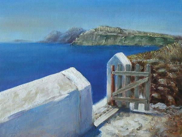 Island Poster featuring the painting Santorini Island by Olga