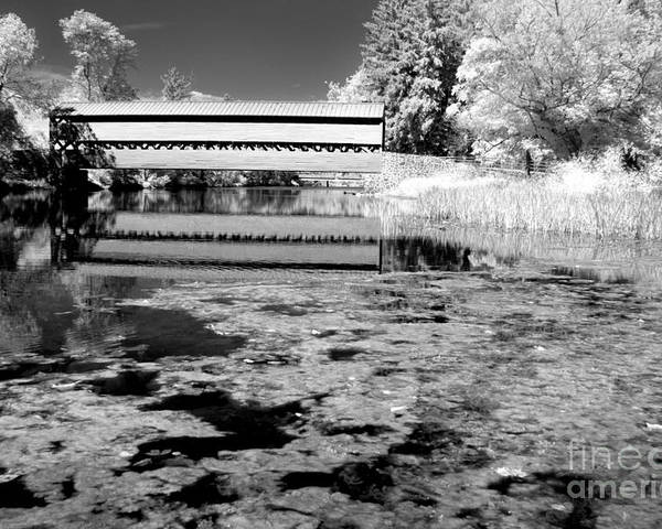 Ir Poster featuring the photograph Saucks Bridge - Pond - Bw by Paul W Faust - Impressions of Light