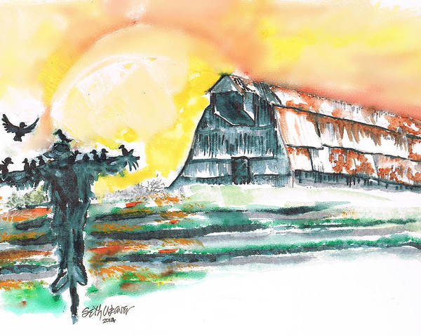Scarecrow Welcomes The Morning Poster featuring the mixed media Scarecrow Welcomes the Morning by Seth Weaver