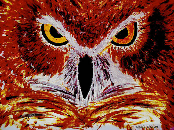 Red Poster featuring the painting Scarlet Owl by David Cates