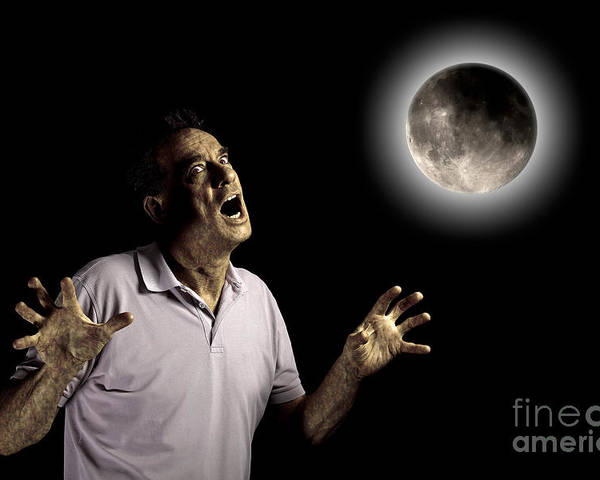 Anger Poster featuring the photograph Scary Man Under Cloudy Moon by Sarah Cheriton-Jones