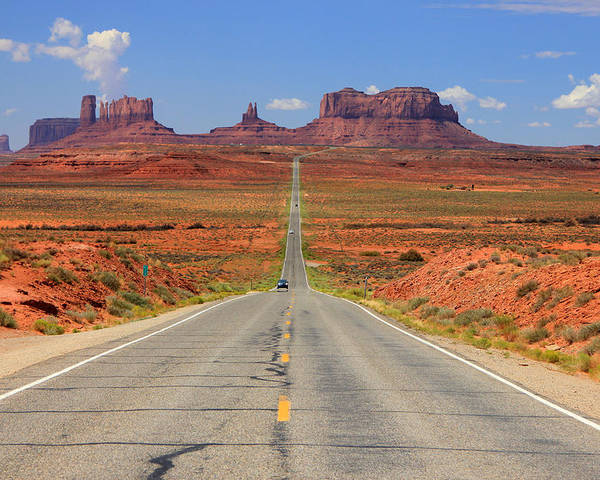 Highway 163 Poster featuring the photograph Scenic Road Into Monument Valley by Johnny Adolphson
