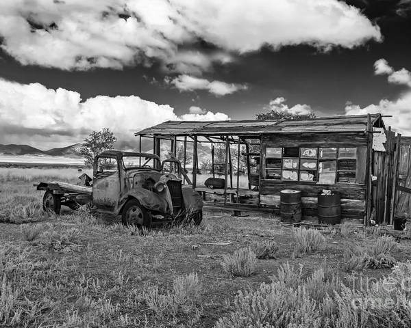 Black And White Poster featuring the photograph Schellbourne Station And Old Truck by Robert Bales