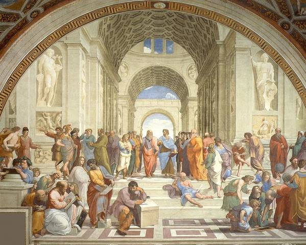 Art Poster featuring the painting School Of Athens by Raphael