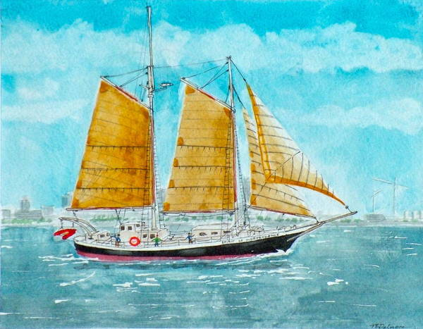 Ship Poster featuring the painting Schooner Spirit Of Independence by Vic Delnore