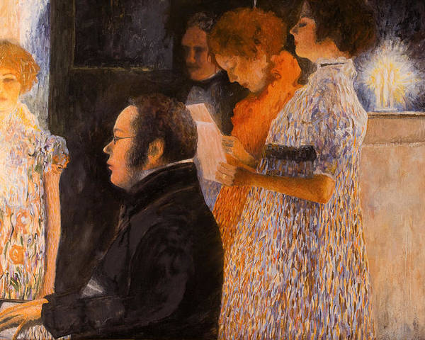 Schubert Poster featuring the painting Schubert At The Piano - After Klimt by Don Perino