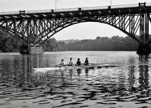 Black & White Poster featuring the photograph Schuylkill Row by Joseph Perno