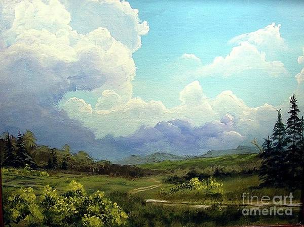 Clouds Poster featuring the painting Scotch Broom by John Wise