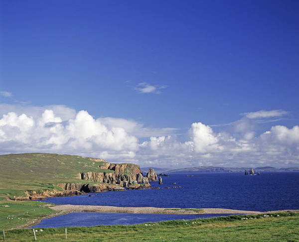 Scotland; Cloud; Landscape; Tranquility; Scenics; Horizon Over Water; Sea; Coastline; Travel; No People; Horizontal; Outdoors; Day; Eshaness Cliffs; Shetland Islands Poster featuring the photograph Scotland Shetland Islands Eshaness Cliffs by Anonymous
