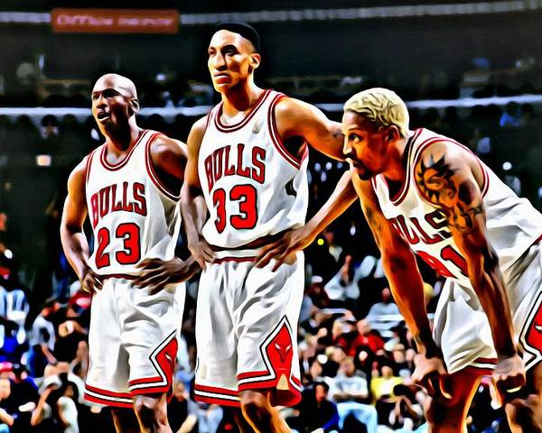 National Poster featuring the painting Scottie Pippen With Michael Jordan And Dennis Rodman by Florian Rodarte