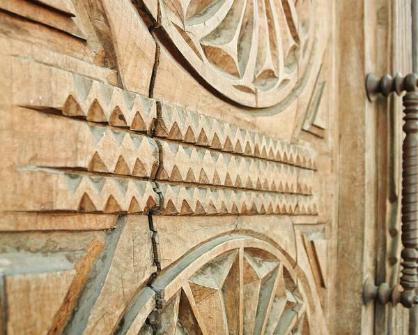 Wooden Door Poster featuring the photograph Sculpted Wooden Door by Vlad Baciu