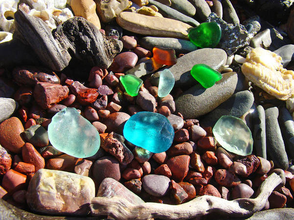 Seaglass Poster featuring the photograph Sea Glass Art Prints Beach Seaglass by Baslee Troutman