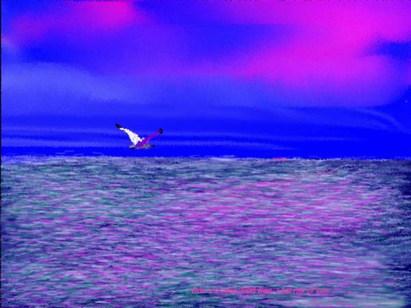 Evening.sky.clouds.sunrays.sun.sunset.sea.waves.colors.blue.pink.red.dark Blue Poster featuring the digital art Sea. Last Rays Of Sun by Dr Loifer Vladimir