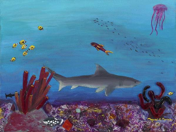 Shark Poster featuring the painting Sea Life by Maggie Morrison
