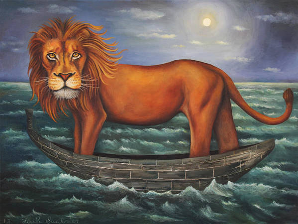 Lion Poster featuring the painting Sea Lion Softer Image by Leah Saulnier The Painting Maniac
