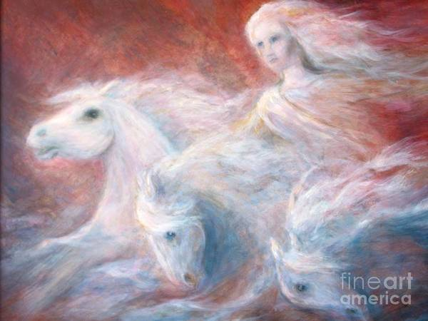 Goddess Poster featuring the painting Sea Of Horses by Barbara Psimas