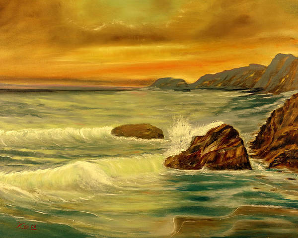 Seascape Poster featuring the painting Sea Scape 1 by Kenneth LePoidevin
