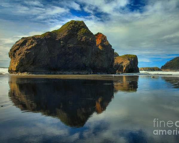 Meyers Creek Poster featuring the photograph Sea Stack Swirls by Adam Jewell