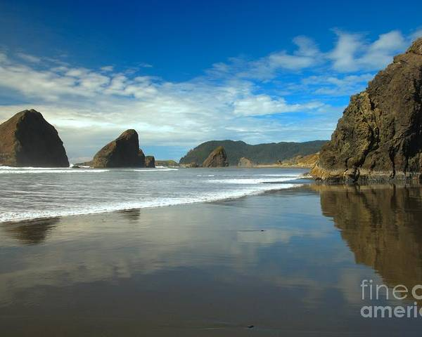 Meyers Creek Poster featuring the photograph Sea Stacks In Blue by Adam Jewell