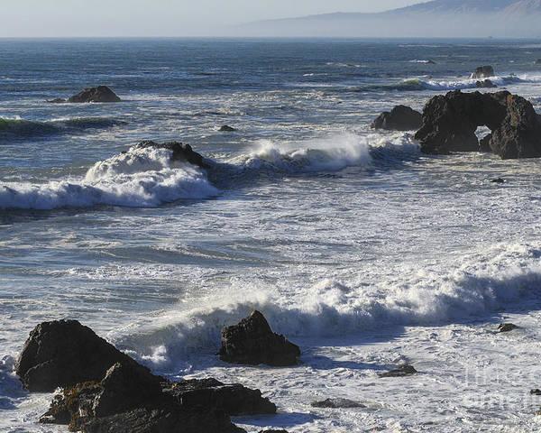 Bodega Bay California Wave Waves Water Oceans Sea Seas Pacific Ocean Bays Rock Rocks Spray Shore Shores Shoreline Shorelines Coast Coasts Coastline Coastlines Waterscape Waterscapes Poster featuring the photograph Sea View by Bob Phillips