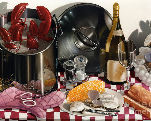 Lobsters Poster featuring the painting Seafood Serenade 1996 Skewed Perspective Series 1991 - 2000 by Larry Preston