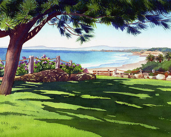 Seagrove Poster featuring the painting Seagrove Park Del Mar by Mary Helmreich