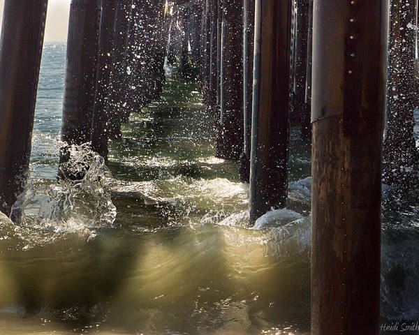 Angry Poster featuring the photograph Seal Beach Pier Surf by Heidi Smith