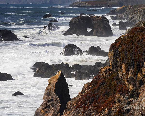 Bodega Bay California Wave Waves Water Oceans Sea Seas Pacific Ocean Bays Rock Rocks Spray Shore Shores Shoreline Shorelines Coast Coasts Coastline Coastlines Cliff Cliffs Waterscape Waterscapes Landscape Landscapes Poster featuring the photograph Seaside Color by Bob Phillips