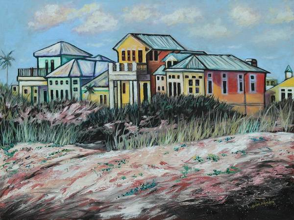 Florida Poster featuring the painting Seaside Cottages by Eve Wheeler