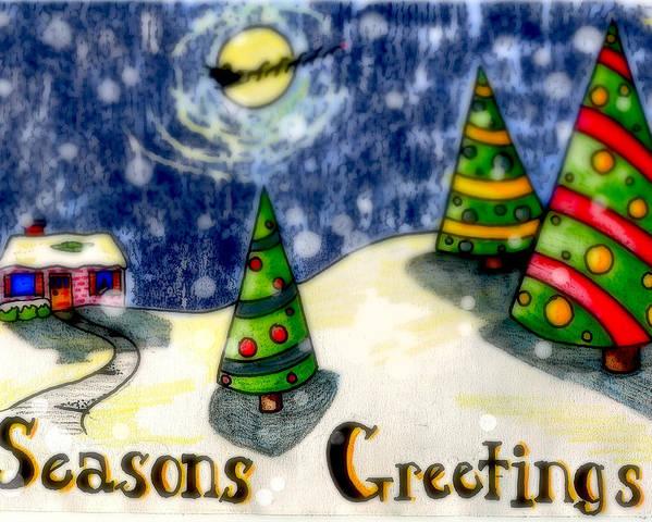 Santa Poster featuring the digital art Seasons Greetings by Jame Hayes