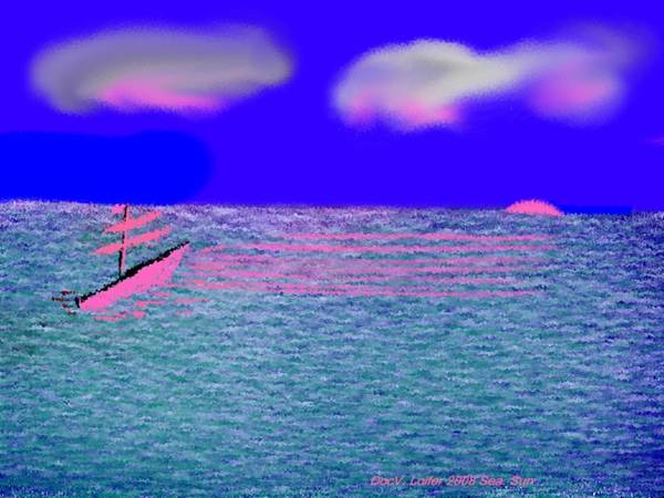 Early Evening Poster featuring the digital art Sea.sun by Dr Loifer Vladimir