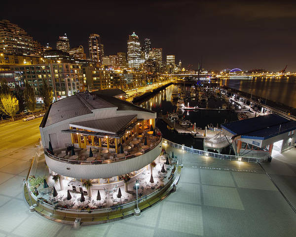 Seattle Poster featuring the photograph Seattle City Skyline And Marina At Night by Jit Lim