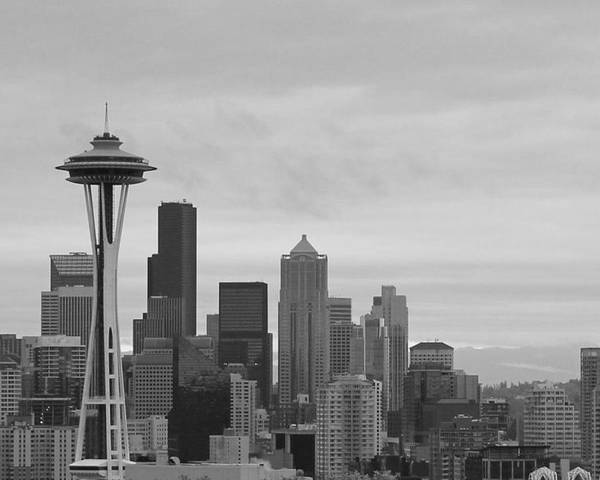 Black And White Seattle Poster featuring the photograph Seattle by Diane Songstad