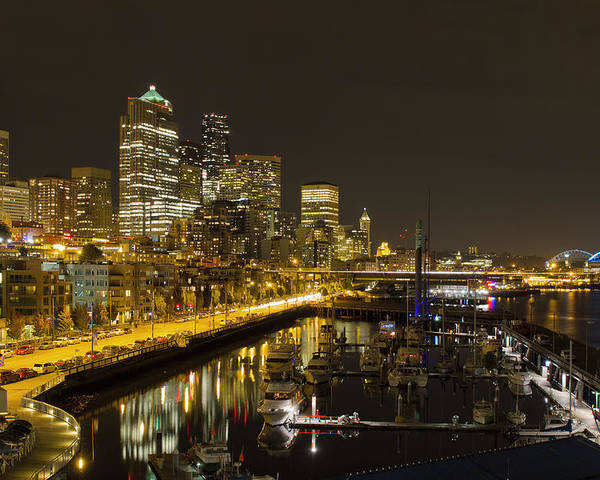 Seattle Poster featuring the photograph Seattle Downtown Waterfront Skyline At Night Reflection by Jit Lim