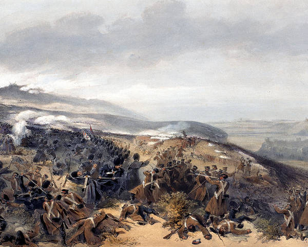 Battlefield Poster featuring the drawing Second Charge Of The Guards When by William 'Crimea' Simpson