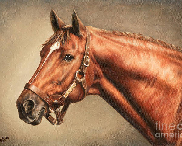 Secretariat Poster featuring the painting Secretariat At Claiborne by Thomas Allen Pauly